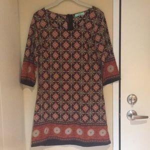 Karlie 3/4 Sleeve Patterned Dress